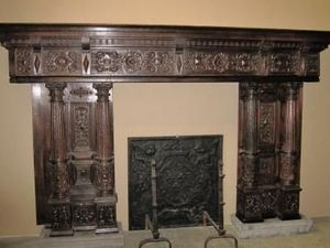 Evers Theo - fireplace wood with ornaments - Manteau De Cheminée