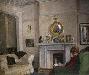 SARAH COLEGRAVE - scène de lecture par edward james buttar - Huile Sur Toile Et Huile Sur Panneau