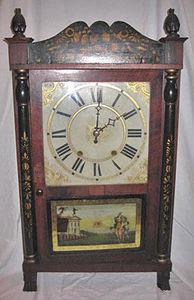 KIRTLAND H. CRUMP - mahogany transitional shelf clock made by riley wh - Horloge À Poser