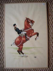Hippocante - cheval cabré - Estampe