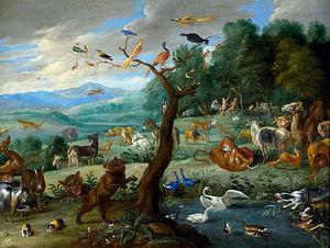 Florence de Voldere - paradis terrestre par jan van kessel 1668 - Huile Sur Toile Et Huile Sur Panneau