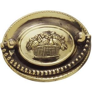 FERRURES ET PATINES - poignee de meuble avec applique ovale en laiton re - Poignée De Meuble