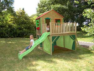 SOULET - maisonnette enfant en bois avec toboggan et tente  - Aire De Jeux