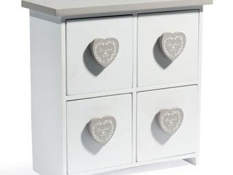 Maisons du monde - boite 4 tiroirs coeurs bonheur - Boite D�corative
