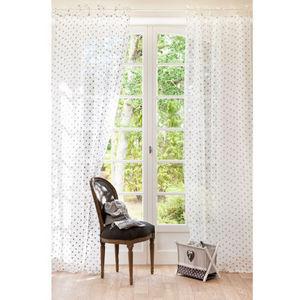 Maisons du monde - rideau lin anthracite pois - Rideaux � Lacettes
