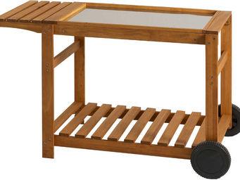 Favex - chariot en bois pour plancha 120x63,5x79cm - Table Roulante De Jardin