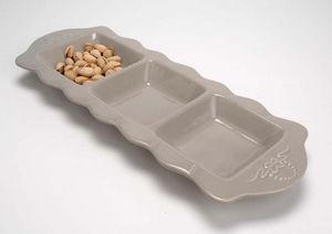 Amadeus - plat 3 compartiments en céramique lin 41.5x15x3cm - Coupelle À Apéritif