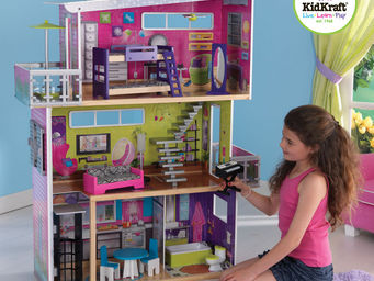 KidKraft - maison de poup�es design en bois 93x36x120cm - Maison De Poup�e