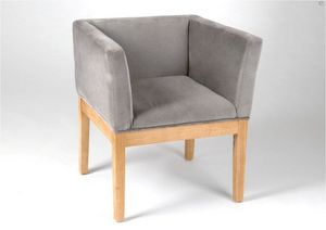 Kervroedan Jean Claude - fauteuil brio en velours gris et bois 62x56,5x69cm - Fauteuil Bridge