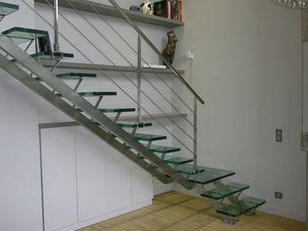 TRESCALINI - linea : escalier quart tournant inox et verre - Escalier Un Quart Tournant