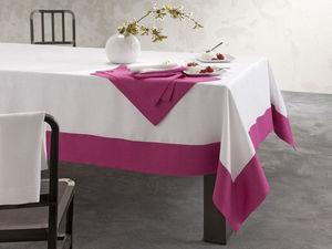 BLANC CERISE - nappe - lin déperlant - bicolore, brodée - Nappe Et Serviettes Assorties