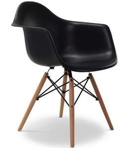 Charles & Ray Eames - chaise eiffell aw noire charles eames lot de 4 - Chaise Réception