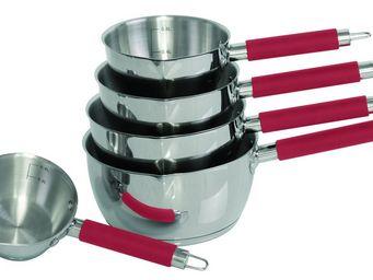 SCHUMANN PROFESSIONNEL - 5 casseroles silicone manche rouge schumann profes - Casserole