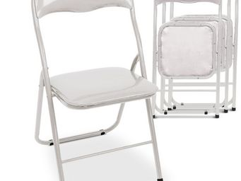 Up Trade - chaise pliante blanche kitchina lot de 4 - Chaise Pliante
