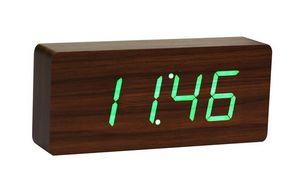 Gingko - slab walnut click clock / green led - Réveil Matin