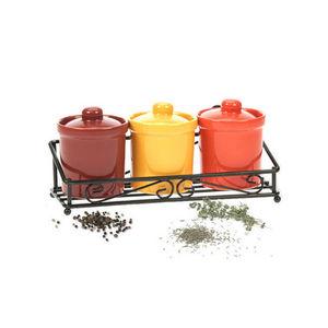 WHITE LABEL - etagère romantique avec 3 pots à épices en grès - Pot À Épices