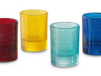 Greggio - set of 4 mixed coloured water glasses art 19880105 - Gobelet