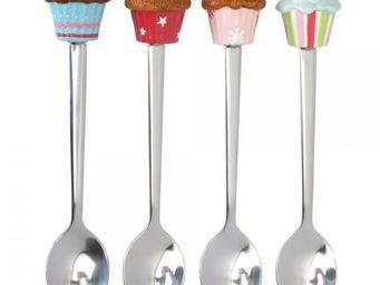La Chaise Longue - coffret de 4 cuill�res � dessert cupcake - Couverts � Dessert