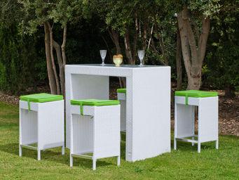 HEVEA - ensemble bar menorca blanc et pistache - Bar De Jardin