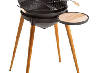 INVICTA - barbecue shogun en fonte et pieds en bois 86x71x92 - Barbecue Au Charbon