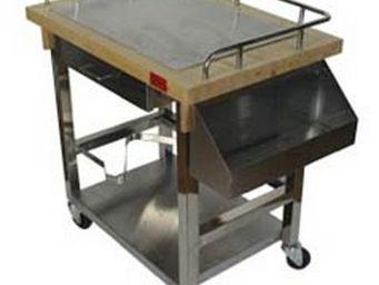 SPECI - chariot plancha inox et bois - Table Roulante De Jardin