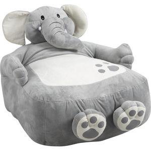 Aubry-Gaspard - fauteuil pouf éléphant en coton et peluche 60x50x5 - Fauteuil Enfant