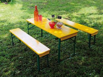 JARDIPOLYS - table et bancs pique-nique enfant jaune 110x40x52c - Table Pique Nique