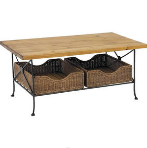 Aubry-Gaspard - table basse 2 tiroirs en métal, pin et rotin 100x6 - Table Basse Rectangulaire