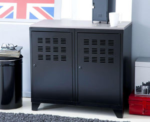 jardindeco - armoire de rangement en métal noir 2 portes 40x80x - Armoire De Bureau