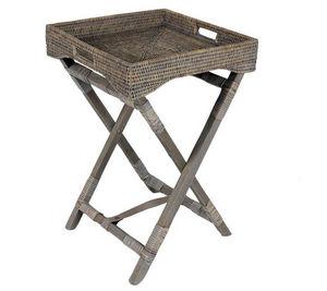 Aubry-Gaspard - plateau sur pied en bois et rotin patiné gris 40x4 - Table D'appoint