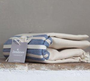 Zandaraa - fouta plate sable et indigo - Serviette De Hammam Fouta