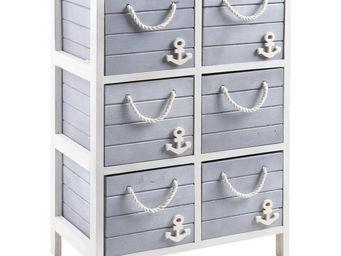 jardindeco - commode 6 tiroirs marina en bois et corde 48x29x79 - Meuble De Salle De Bains