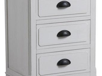Aubry-Gaspard - commode 3 tiroirs en pin campagne chic - Table De Chevet