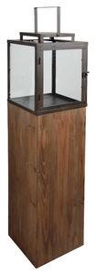Aubry-Gaspard - lanterne de jardin en bois et métal 25x25x114cm - Lanterne D'extérieur