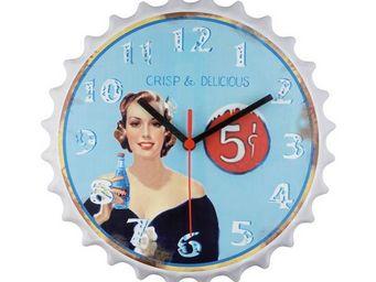 La Chaise Longue - horloge murale fond bleu - Pendule Murale