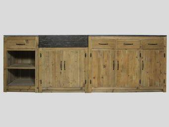 MADE IN MEUBLES - meuble cuisine authentiq 250cm pin recycl� naturel - Meuble De Cuisine