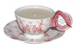 Demeure et Jardin - bougie dans une tasse toile de jouy rouge - Bougie Décorative