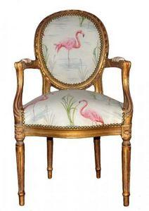 Demeure et Jardin - fauteuil cabriolet flamant rose - Fauteuil Médaillon