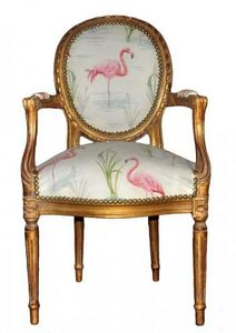Demeure et Jardin - fauteuil cabriolet flamant rose - Fauteuil M�daillon