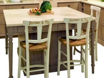 PROVENCE ET FILS - ilot central agapes / dessus marbre - espace bar ( - Ilot De Cuisine