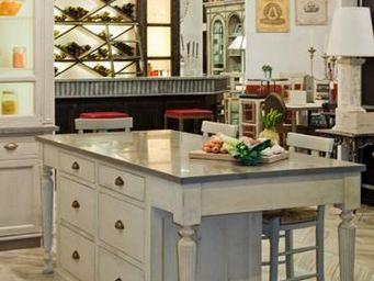 PROVENCE ET FILS - ilot central cuisine herboriste / dessus marbre di - Ilot De Cuisine