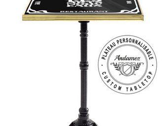 Ardamez - table de bistrot émaillée noir / laiton / fonte - Table Bistrot