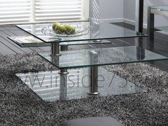 WHITE LABEL - steelglass table basse design en verre et piétemen - Table Basse Avec Plateau