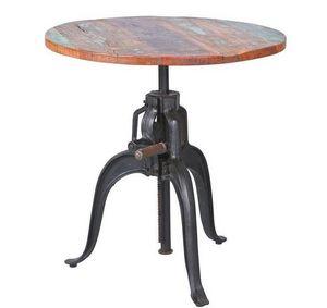 WHITE LABEL - table cremaillere unique fundos en bois de manguie - Table Bistrot