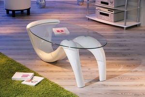 WHITE LABEL - table basse design bella laque blanche et beige en - Table Basse Ovale