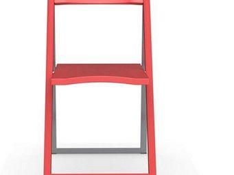 Calligaris - chaise pliante skip rouge et aluminium satin� de c - Chaise Pliante