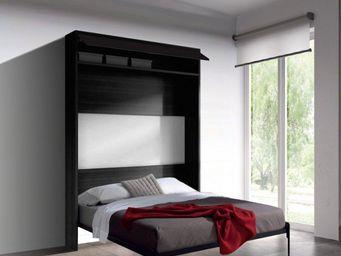 WHITE LABEL - armoire lit escamotable eos chêne noir. couchage 1 - Lit Escamotable