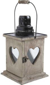 Aubry-Gaspard - lanterne coeur en bois vieilli - Lanterne D'extérieur