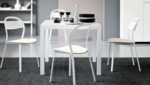 Calligaris - table repas extensible key 90x89 en verre blanc de - Table Bureau