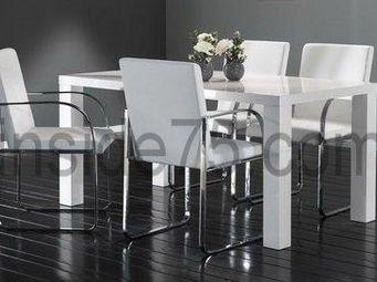 WHITE LABEL - table de repas glossy laquée blanche - Table Basse Relevable